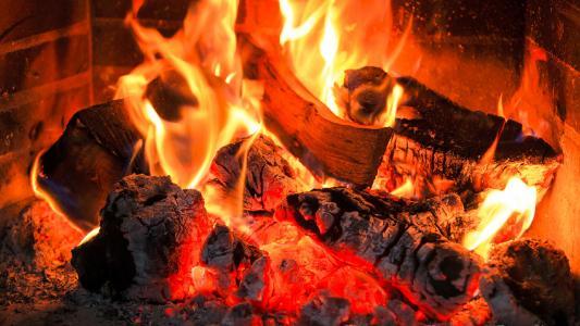 火,壁炉,柴火,煤炭