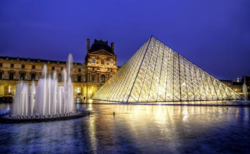 巴黎,法国,法国,博物馆,金字塔,喷泉,建筑,城市,晚上,卢浮宫