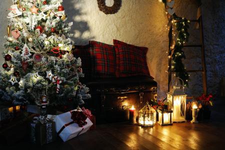 房间,假日,新年,圣诞节,树,装饰,框,礼品,灯,花环,蜡烛