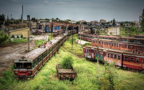 废弃的铁路车厂