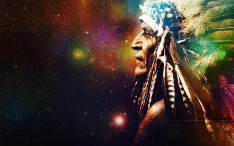 明星,神秘主义,空间,背景,羽毛,印度,宇宙