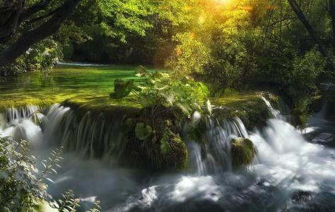 自然,瀑布,河流,溪流,石头