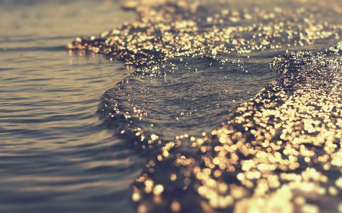 溢出,玩,水,眩光,光,海,波浪,散景