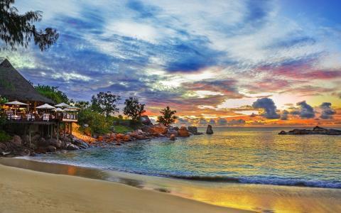 塞舌尔,餐厅,海,岛,日落,海滩