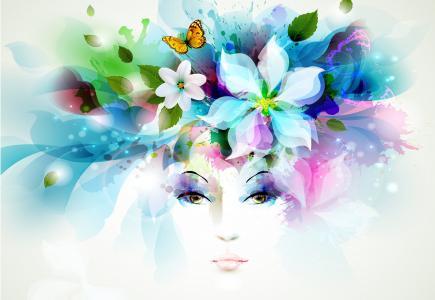 童话,矢量图形,蝴蝶,脸,视线,幻想