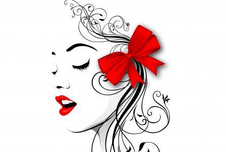 抽象,女孩,脸,线条,嘴唇,弓