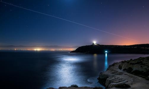 晚上,天空,星星,城市,灯,海岸,美女,海洋,灯塔,天堂别致