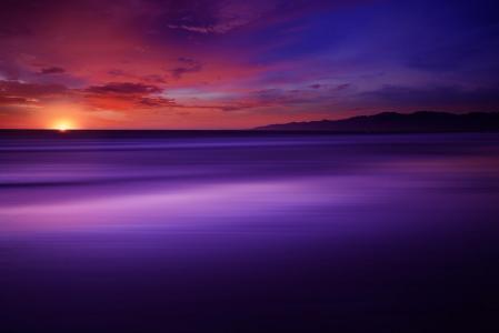 紫色,太平洋,加利福尼亚,太阳的力量