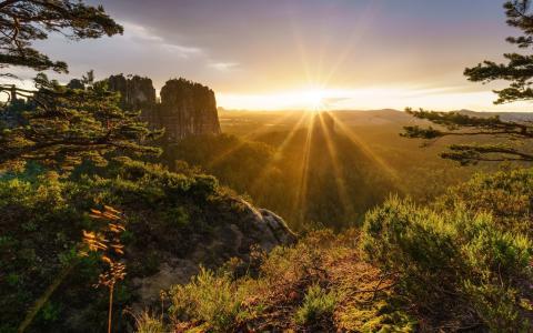 日落,山,悬崖,阳光,阿尔卑斯山,瑞士