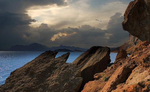 克里米亚,山,黑色,海,岩石,石头,阴影,云