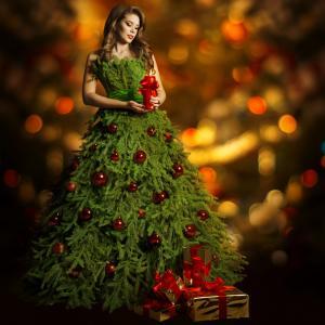 女孩,创意,图像,圣诞树
