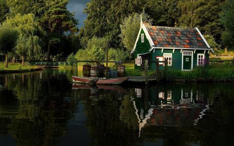 房子,湖,船,桥