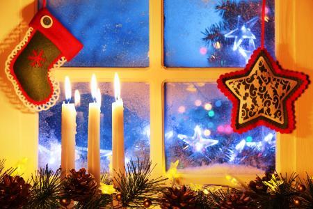 明星,放养,蜡烛,云杉,视锥细胞,窗口,假期
