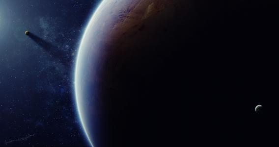 星星,卫星,光,艺术,阴影,空间,星球