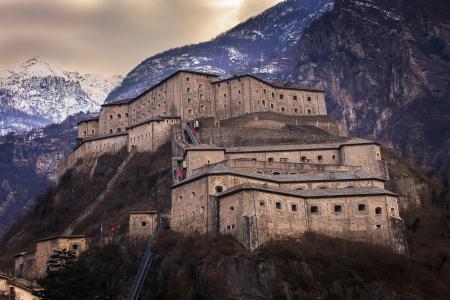意大利,天空,山脉,建筑物,堡垒,墙壁