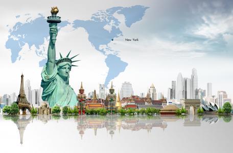 树木,摩天大楼,自由女神像,地图