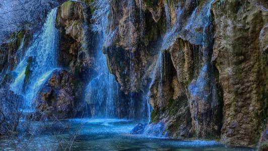 岩石,小溪,瀑布,喷雾