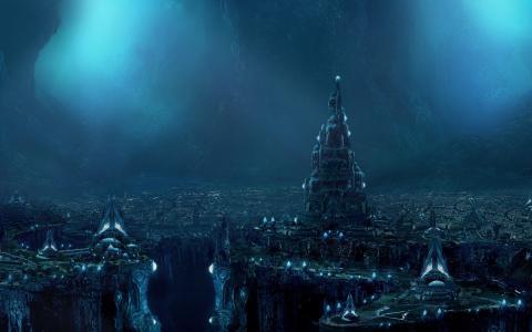未来的城市,建筑物,悬崖