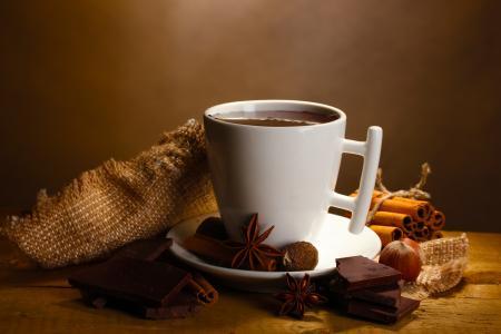 茴香,巧克力,肉桂,饮料,热,切片,巴登