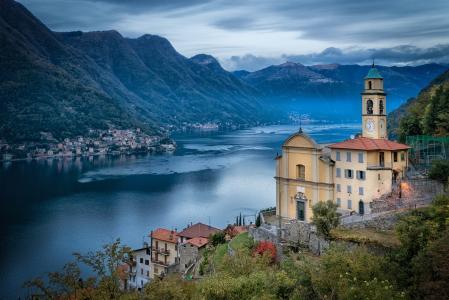 山,湖,镇,科莫,意大利,意大利