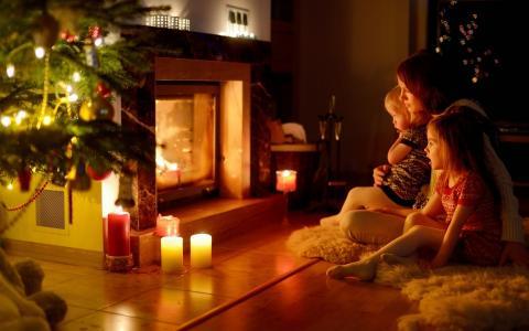 晚上,圣诞节,壁炉,树,家庭,照片,积极