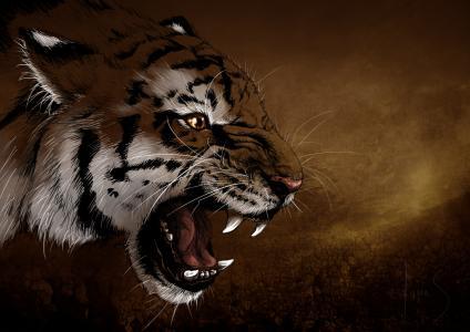 虎,枪口,奥斯卡,牙齿,小胡子