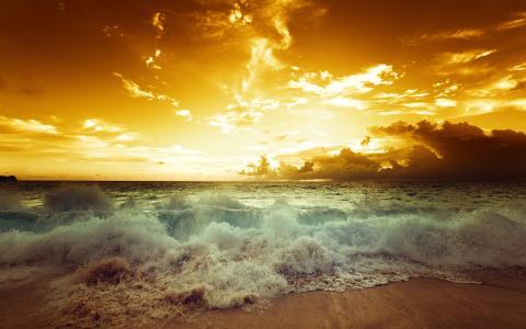 日落,海,日落,海景,海滩