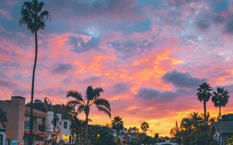 加州唯美天空火烧云风光