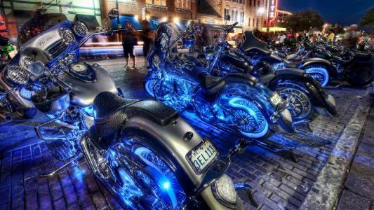 自行车,晚上,城市,霓虹灯,摩托车