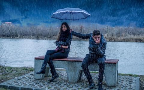 女孩,家伙,dosh,parasolka
