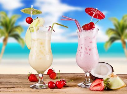 鸡尾酒,草莓,夏天,眼镜,鸡尾酒,水果,食物