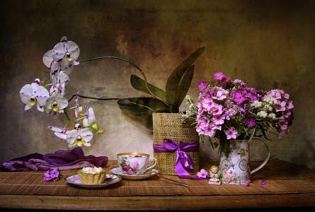 静物,静物,水罐,鲜花,福禄考,兰花,杯,茶,甜点,蛋糕,手帕,雕像,天使