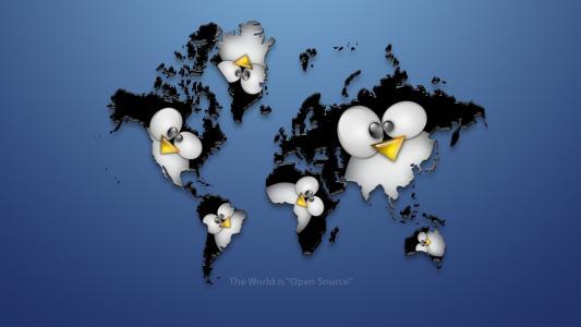 大洲,企鹅,Linux,世界地图