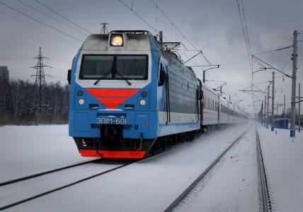 火车,火车,电力机车,方式,冬天,雪,铁路