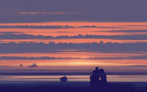 浪漫情侣夕阳海边手绘