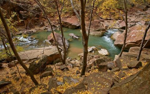 悬崖,巨石,小溪