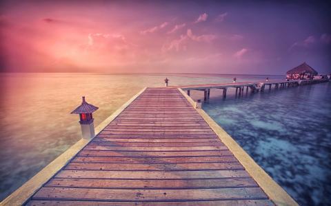 夏天,度假村,日落,美丽,海洋
