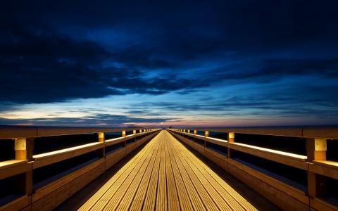 景观,日落,桥梁