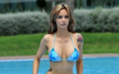 游泳池,杰西卡·简·克莱门特,比基尼,蓝色,纹身