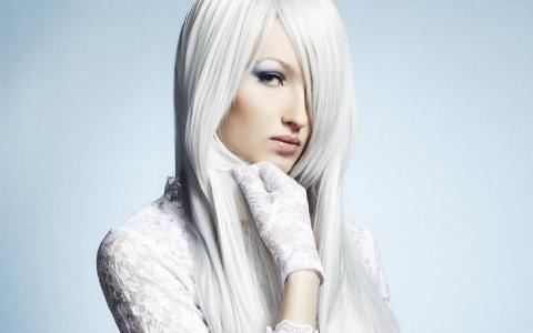 脸,头发,眼睛,看,手套,裙子,白,美女,冷