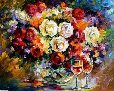 绘图,油,眼镜,花束,玫瑰