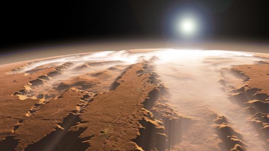 太阳,火星,雾,峡谷,星球
