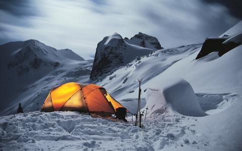 山,雪,帐篷,滑雪板