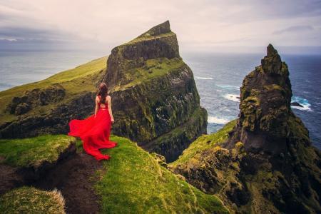 自然,岩石,山,海,女孩,美丽