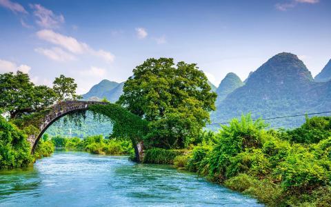 山,自然,景观,桥,中国
