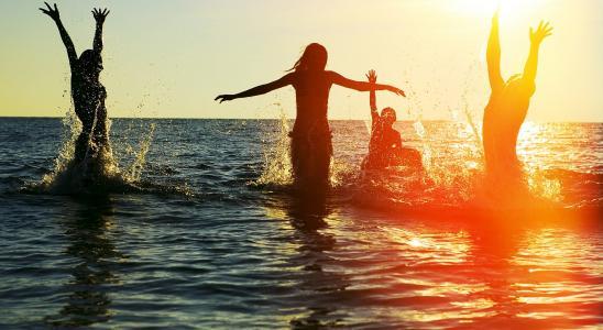 海洋,水,人,乐趣,溅,滴眼液,太阳,公司,日落