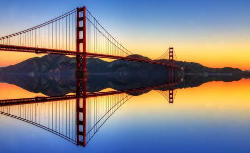 旧金山,桥,海湾,镜子,美丽,丘陵