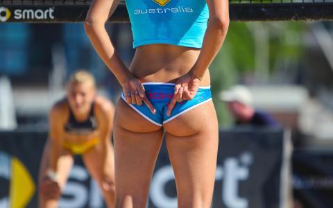 女孩,臀部,排球