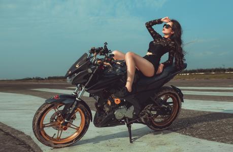 摩托车,自行车,女孩,构成