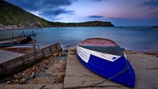 海岸,船,阴霾,石头